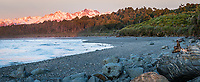Sunset at Gillespies Beach and over Southern Alps with Mt. Tasman (left) 3497m and Mt. Cook (right) 3724m, two highest New Zealand mountains, Westland Tai Poutini National Park, West Coast, UNESCO World Heritage Area, New Zealand, NZ