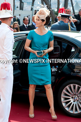"""MONACO ROYAL WEDDING.Princess Mary..Guests Arrive at the Religious wedding of H.S.H Prince Albert II and Miss Charlene Wittstock in the Prince's Palace._Prince's Palace Monaco 01/07/2011..Mandatory Photo Credit: ©Dias/Newspix International..**ALL FEES PAYABLE TO: """"NEWSPIX INTERNATIONAL""""**..PHOTO CREDIT MANDATORY!!: NEWSPIX INTERNATIONAL(Failure to credit will incur a surcharge of 100% of reproduction fees)..IMMEDIATE CONFIRMATION OF USAGE REQUIRED:.Newspix International, 31 Chinnery Hill, Bishop's Stortford, ENGLAND CM23 3PS.Tel:+441279 324672  ; Fax: +441279656877.Mobile:  0777568 1153.e-mail: info@newspixinternational.co.uk"""
