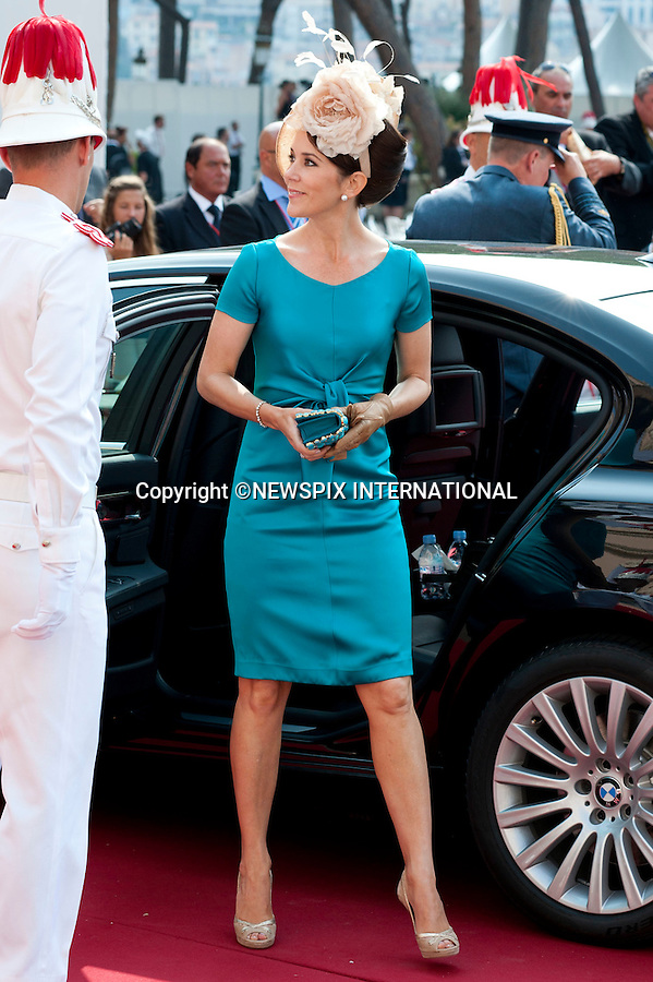 "MONACO ROYAL WEDDING.Princess Mary..Guests Arrive at the Religious wedding of H.S.H Prince Albert II and Miss Charlene Wittstock in the Prince's Palace._Prince's Palace Monaco 01/07/2011..Mandatory Photo Credit: ©Dias/Newspix International..**ALL FEES PAYABLE TO: ""NEWSPIX INTERNATIONAL""**..PHOTO CREDIT MANDATORY!!: NEWSPIX INTERNATIONAL(Failure to credit will incur a surcharge of 100% of reproduction fees)..IMMEDIATE CONFIRMATION OF USAGE REQUIRED:.Newspix International, 31 Chinnery Hill, Bishop's Stortford, ENGLAND CM23 3PS.Tel:+441279 324672  ; Fax: +441279656877.Mobile:  0777568 1153.e-mail: info@newspixinternational.co.uk"