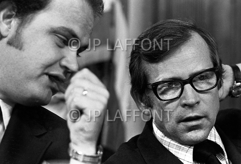 Washington DC, 1973. (l to r) Fred Thompson with Howard Baker. A break in at the Democratic National Committee headquarters at the Watergate complex on June 17, 1972 results in one of the biggest political scandals the US government has ever seen.  Effects of the scandal ultimately led to the resignation of  President Richard Nixon, on August 9, 1974, the first and only resignation of any U.S. President.
