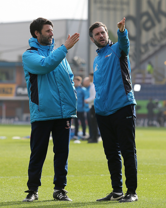 Lincoln City manager Danny Cowley (left) discusses tactics with Nicky Cowley before kick off<br /> <br /> Photographer David Shipman/CameraSport<br /> <br /> Emirates FA Cup Fifth Round - Burnley v Lincoln City - Saturday 18th February 2017 - Turf Moor - Burnley <br />  <br /> World Copyright &copy; 2017 CameraSport. All rights reserved. 43 Linden Ave. Countesthorpe. Leicester. England. LE8 5PG - Tel: +44 (0) 116 277 4147 - admin@camerasport.com - www.camerasport.com