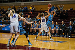 GRAND RAPIDS, MI - MARCH 18: Lauren Dillon (11) of Tufts University passes the ball to her teammate during the Division III Women's Basketball Championship held at Van Noord Arena on March 18, 2017 in Grand Rapids, Michigan. Amherst College defeated Tufts University 52-29 for the national title. (Photo by Brady Kenniston/NCAA Photos via Getty Images)