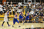 Mar 11, 2015; Portland, OR, USA;  La Salle Prep celebrates a 51-46 win over Hermiston Bulldogs in the 5A Girls Basketball State Championship at Gill Coliseum.<br /> Photo by Jaime Valdez