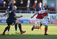 Fleetwood Town's Ched Evans in action with Luton Town's Alan McCormack<br /> <br /> Photographer Mick Walker/CameraSport<br /> <br /> The EFL Sky Bet League One - Fleetwood Town v Luton Town - Saturday 16th February 2019 - Highbury Stadium - Fleetwood<br /> <br /> World Copyright © 2019 CameraSport. All rights reserved. 43 Linden Ave. Countesthorpe. Leicester. England. LE8 5PG - Tel: +44 (0) 116 277 4147 - admin@camerasport.com - www.camerasport.com
