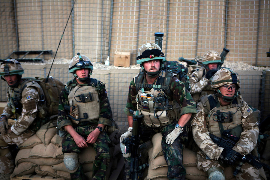 Mcc0018931 . Daily Telegraph..Guardsmen from No3 Coy, Coldstream Guards after returning to Patrol Base 3 after a patrol in the Babaji area of Helmand province..Afghanistan 7 November 09.