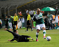 PALMASECA-COLOMBIA, 19-07-2017.  Mayer Candelo  (Der.) jugador del Deportivo Cali disputa un balón con Michael Ortega (Izq..) del Once Caldas  durante encuentro  por la fecha 3 de la Liga Aguila II 2017 disputado en el estadio del Deportivo Cali en Palmaseca./ Mayer Candelo  (R)  player of Deportivo Cali  fights the agaisnt of Michale Ortega of Once Caldas  during match for the date 3 of the Aguila League II 2017 played at Deportivo Cali  stadium in Palmaseca. Photo:VizzorImage / Nelson Rios  / Cont