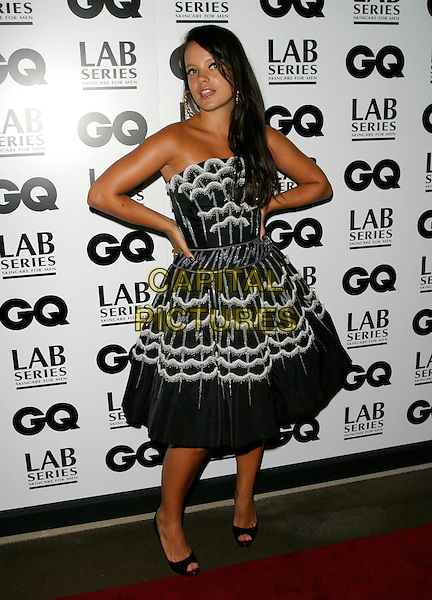 LILY ALLEN<br /> Arrivals - GQ Men Of The Year Awards,<br /> Royal Opera House, Covent Garden, London,<br /> England, September 5th 2006.<br /> full length black and white strapless prom dress hands on hips gold earrings peeptoe shoes lilly allan<br /> Ref: AH<br /> www.capitalpictures.com<br /> sales@capitalpictures.com<br /> &copy;Adam Houghton/Capital Pictures