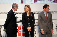 Princess Letizia of Spain attends the 'El Barco de Vapor' literature awards in the presence of the President of Madrid Region Jose Ignacio Gonzalez (r) and the Chairman of the Editorial SM Javier Cortes.April 9, 2013.(ALTERPHOTOS/Acero) /NortePhoto