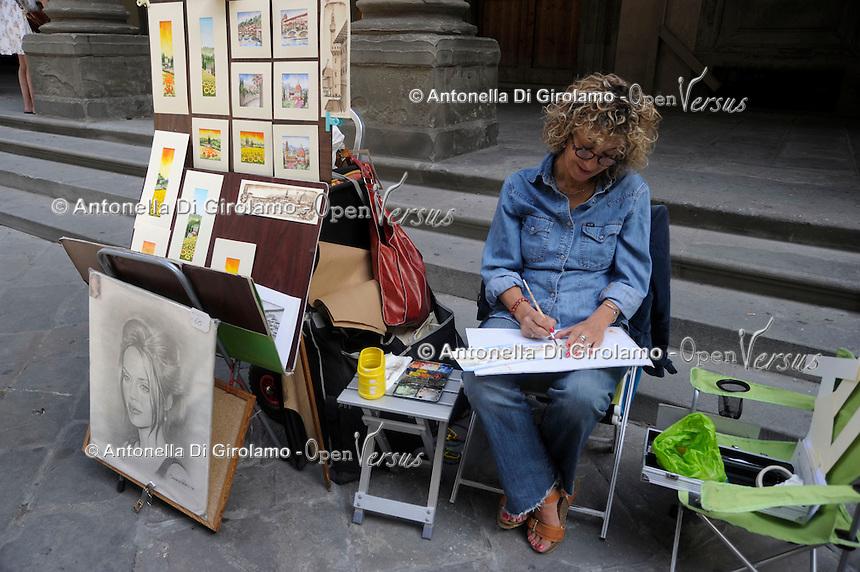 Artisti e artisti di strada a Firenze. Artists and street performers in Florence.