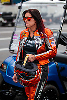Mar 16, 2019; Gainesville, FL, USA; NHRA pro stock motorcycle rider Angelle Sampey during the Gatornationals at Gainesville Raceway. Mandatory Credit: Mark J. Rebilas-USA TODAY Sports