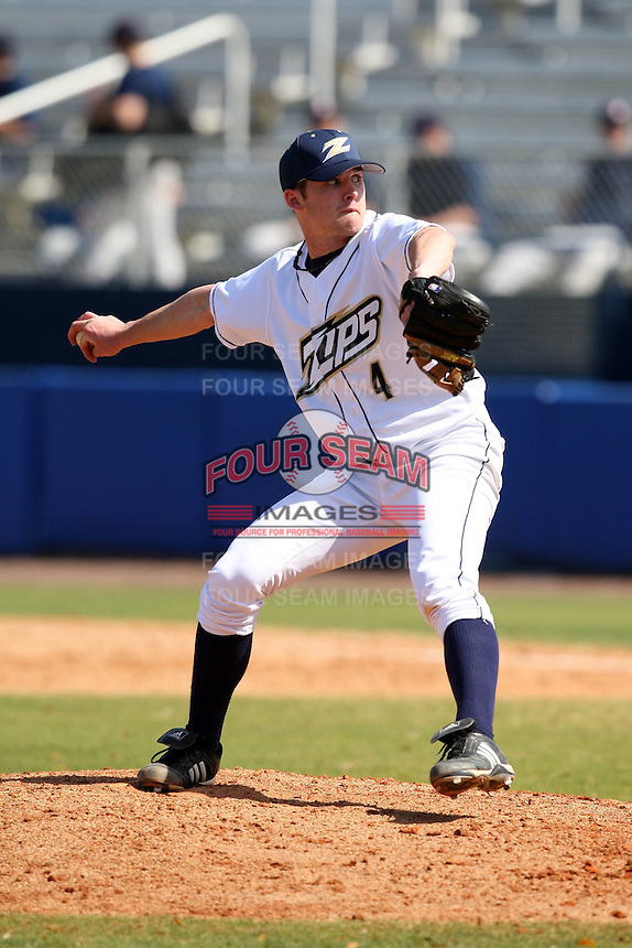 March 14, 2010:  Second Baseman/Pitcher Sam Watkins (4) of the Akron Zips vs. the Yale Bulldogs in a game at Chain of Lakes Park in Winter Haven, FL.  Photo By Mike Janes/Four Seam Images