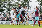 29.07.2017, Heinz-Dettmer-Stadion, Lohne, GER, FSP, SV Werder Bremen vs West Ham United<br /> <br /> im Bild<br /> Jos&eacute; / Jose Fonte (West Ham #4) im Duell / im Zweikampf mit  Lamine San&eacute; / Sane (Werder Bremen #26), Jiri Pavlenka (Werder Bremen #1), <br /> <br /> Foto &copy; nordphoto / Ewert