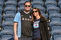 Bridgeview, IL, USA - Saturday, April 23, 2016: Chicago Red Stars fans before a regular season National Women's Soccer League match between the Chicago Red Stars and the Western New York Flash at Toyota Park. Chicago won 1-0.