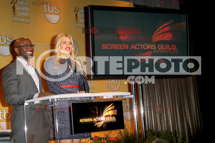 WEST HOLLYWOOD, CA - DECEMBER 12: Busy Philipps and Taye Diggs at the 19th Annual Screen Actors Guild Award Nominations at the Pacific Design Center on December 12, 2012 in West Hollywood, California. Credit: mpi26/MediaPunch Inc. /NortePhoto© /NortePhoto /NortePhoto