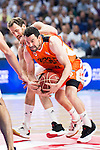 Real Madrid's player Sergio Rodriguez and Valencia Basket's Rafa Martinez during the first match of the Semi Finals of Liga Endesa Playoff at Barclaycard Center in Madrid. June 02. 2016. (ALTERPHOTOS/Borja B.Hojas)