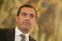 Luigi de Magistris  alla  prima d seduta del consiglio di Napoli citta metropolitana nella sala di Santa Maria La Nova  a Napoli 03 novembre 2014