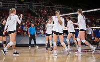 STANFORD, CA - December 1, 2017: Kathryn Plummer, Meghan McClure, Jenna Gray, Audriana Fitzmorris, Merete Lutz at Maples Pavilion. The Stanford Cardinal defeated the CSU Bakersfield Roadrunners 3-0 in the first round of the NCAA tournament.