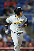 Trenton Thunder first baseman Dante Bichette (29) runs to first during a game against the Binghamton Mets on August 8, 2015 at NYSEG Stadium in Binghamton, New York.  Trenton defeated Binghamton 4-2.  (Mike Janes/Four Seam Images)