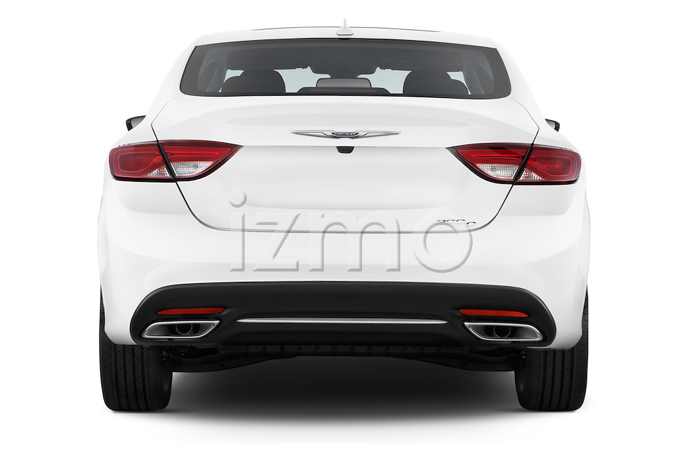 Straight rear view of2015 Chrysler 200 C 4 Door Sedan Rear View  stock images