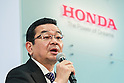 Honda Motors Co., Ltd. President & CEO Takahiro Hachigo speaks during a press conference to explain his future direction and vision for the company at its headquarters on February 24, 2016, Tokyo, Japan. Hachigo announced Honda's global future strategy, which includes continuing to deliver attractive unique products across its product range; including motorcycles, automobiles and power products. The company also announced plans to launch a new model of the Honda Civic in China and Japan this year. Honda will also work with General Motors to develop the next-generation of fuel cell system products by 2020. (Photo by Rodrigo Reyes Marin/AFLO)