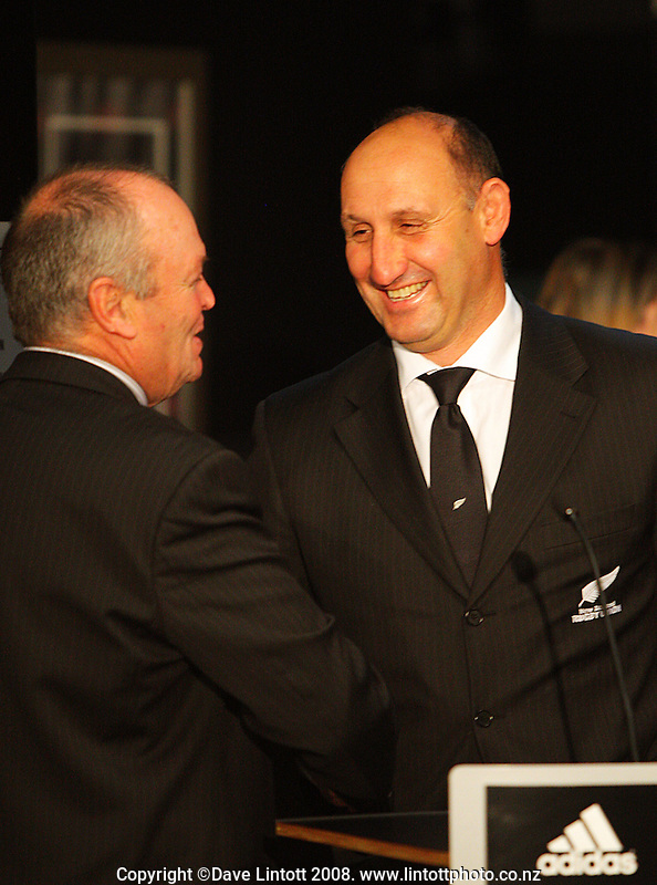All Blacks coach Graham Henry and NZRU chairman Jock Hobbs at the All Blacks end-of-year tour team announcement at NZRU HQ, Wellington, New Zealand on Sunday, 26 October 2008. Photo: Dave Lintott / lintottphoto.co.nz