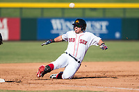 Mesa Solar Sox second baseman Esteban Quiroz (2), of the Boston Red Sox organization, slides into third base during an Arizona Fall League game against the Glendale Desert Dogs at Sloan Park on October 27, 2018 in Mesa, Arizona. Glendale defeated Mesa 7-6. (Zachary Lucy/Four Seam Images)