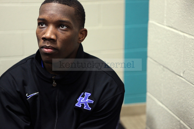 Eric Bledsoe talks to the media before an open practice before UK's first round of the NCAA tournament at New Orleans Arena on Wednesday, March 17, 2010. Photo by Britney McIntosh | Staff