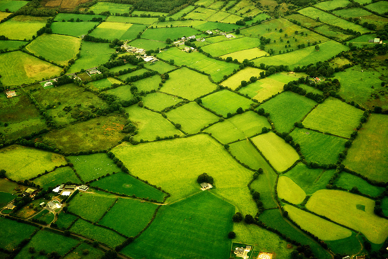Green pastures as seen from the air. Ireland