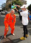 WATERBURY, CT - 08 OCTOBER 2017 -101417JW01.jpg -- Anthony Montierro slimes Dr. Peter Jacoby after having the winning bid to do so during the first United Way Bed Race Fundraiser in over 20 years, Saturday afternoon. Jonathan Wilcox Republican-American