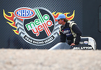 Apr 10, 2015; Las Vegas, NV, USA; NHRA top alcohol dragster driver Bill Litton during qualifying for the Summitracing.com Nationals at The Strip at Las Vegas Motor Speedway. Mandatory Credit: Mark J. Rebilas-