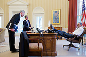 United States President Barack Obama talks with Chief of Staff Denis McDonough and Miguel Rodriguez, Director of Legislative Affairs, in the Oval Office, Feb. 25, 2013. .Mandatory Credit: Pete Souza - White House via CNP