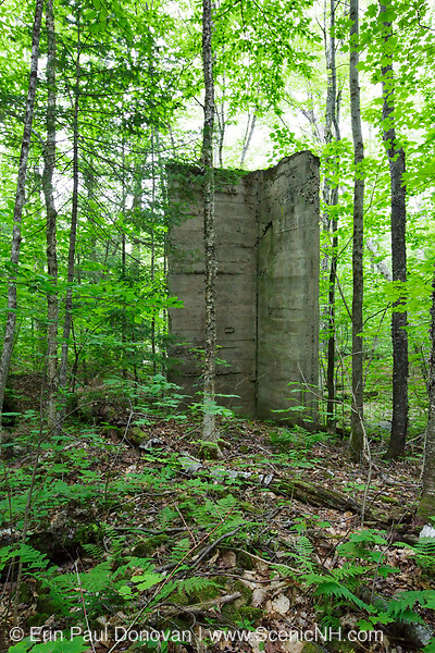 Site of the abandoned Mattson Flooring Company along the Gordon Pond Railroad in Lincoln, New Hampshire USA. This was a logging railroad in operation from 1907 - 1916 (+/-).
