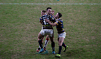 Toronto Wolfpack's Gareth O'Brien is tackled by Leeds Rhinos' Mikolaj Oledzki and Luke Gale<br /> <br /> Photographer Alex Dodd/CameraSport<br /> <br /> Betfred Super League Round 6 - Leeds Rhinos v Toronto Wolfpack - Thursday 5th March 2020 - Headingley - Leeds<br /> <br /> World Copyright © 2020 CameraSport. All rights reserved. 43 Linden Ave. Countesthorpe. Leicester. England. LE8 5PG - Tel: +44 (0) 116 277 4147 - admin@camerasport.com - www.camerasport.com