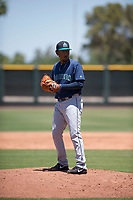 Seattle Mariners relief pitcher Jose Canela (30) prepares to deliver a pitch during an Extended Spring Training game against the San Francisco Giants Orange at the San Francisco Giants Training Complex on May 28, 2018 in Scottsdale, Arizona. (Zachary Lucy/Four Seam Images)
