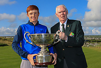 Jim McGovern (President GUI) presents the trophy to Ronan Mullarney (Galway) winner of the AIG Irish Amateur Close Championship 2019 being interviewed by Alan Kelly (GUI) in Ballybunion Golf Club, Ballybunion, Co. Kerry on Wednesday 7th August 2019.<br /> <br /> Picture:  Thos Caffrey / www.golffile.ie<br /> <br /> All photos usage must carry mandatory copyright credit (© Golffile | Thos Caffrey)