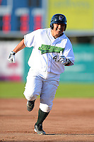 Jamestown Jammers catcher Jin-De Jhang #47 runs the bases after hitting a home run during a game against the Williamsport Crosscutters on June 20, 2013 at Russell Diethrick Park in Jamestown, New York.  Jamestown defeated Williamsport 12-6.  (Mike Janes/Four Seam Images)