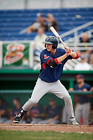 Lowell Spinners left fielder Tyler Esplin (40) at bat during a game against the Batavia Muckdogs on July 15, 2018 at Dwyer Stadium in Batavia, New York.  Lowell defeated Batavia 6-2.  (Mike Janes/Four Seam Images)