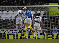 Murray Davidson (8) heads the opening goal in the St Mirren v St Johnstone Clydesdale Bank Scottish Premier League match played at St Mirren Park, Paisley on 8.12.12.