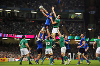 Bernard Le Roux of France wins the ball at a lineout. Rugby World Cup Pool D match between France and Ireland on October 11, 2015 at the Millennium Stadium in Cardiff, Wales. Photo by: Patrick Khachfe / Onside Images