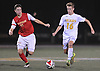 Andrew Weltner #16 of St. Anthony's, right, gets pressured by Matthew Vowinkel #21 of Chaminade during a CHSAA varsity boys soccer game at St. Anthony's High School in South Huntington on Thursday, Oct. 20, 2016.