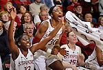 Stanford forwards Nnemkadi Ogwumike (30) and Chiney Ogwumike (13) celebrate late in the second half of an NCAA college basketball game against Washington State in Stanford, Calif., Thursday, Jan. 19, 2012. Stanford defeated Washington State 75-41. (AP Photo/Paul Sakuma)
