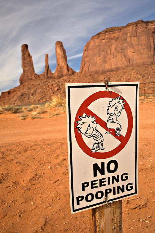 Humorous sign at Monument Valley