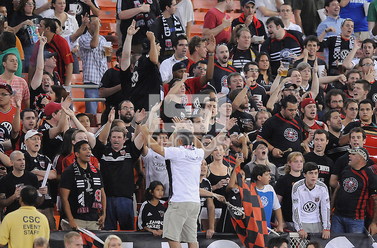 D.C. United fans. The New York Red Bulls tied D.C. United 2-2 at RFK Stadium, Wednesday August 29, 2012.