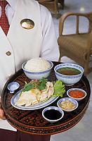 """Asie/Singapour/Singapour: Raffles Hôtel - Recette du Raffles: """"Hainanese Chicken Rice"""" Poulet avec sa soupe et trois sauces"""