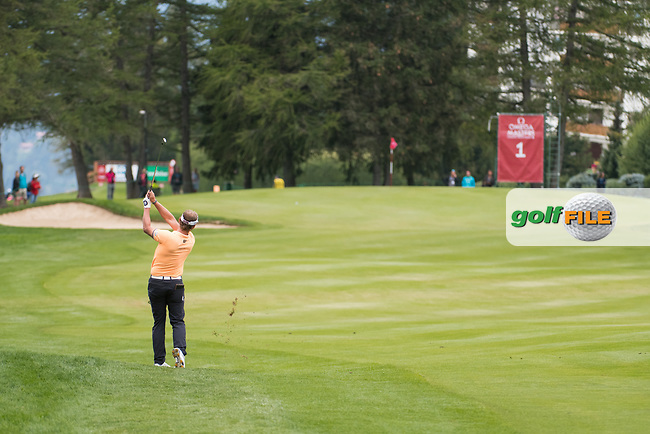 Joost Luiten (NED) in action on the 1st hole during final round at the Omega European Masters, Golf Club Crans-sur-Sierre, Crans-Montana, Valais, Switzerland. 01/09/19.<br /> Picture Stefano DiMaria / Golffile.ie<br /> <br /> All photo usage must carry mandatory copyright credit (© Golffile   Stefano DiMaria)