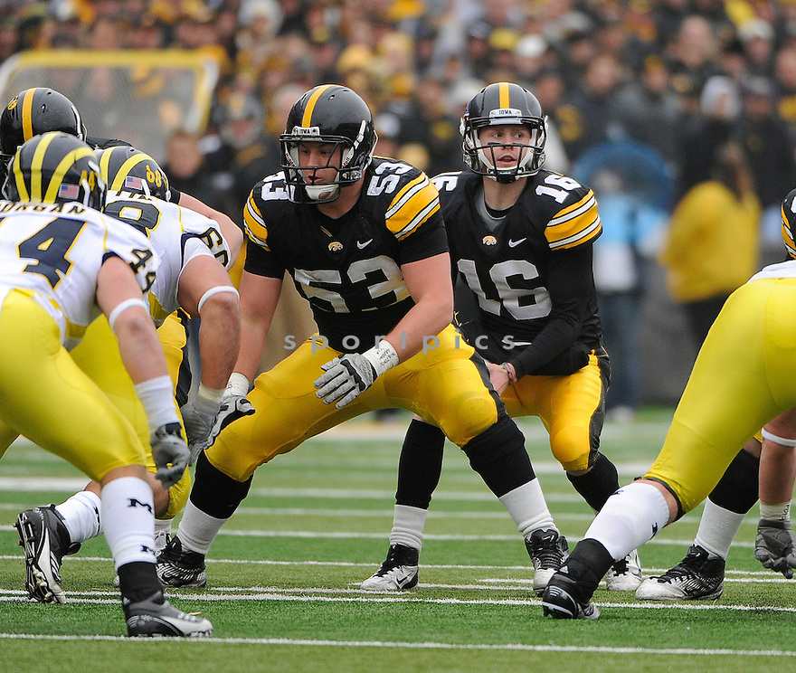 JAMES FERENTZ, of the Iowa Hawkeyes, in action during Iowa's game against the Michigan Wolverines on November 5, 2011 at Kinnick Stadium in Iowa City, IA. Iowa beat Michigan 24-16.