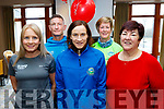 L-R Organisers, Michelle Greaney, Chris Granson&Catherine Kiely of Optical Fitness with beneficiaries of the event, Maura Sullivan and Joan Devane of Kerry Hospice, at the sign-on in the Rose hotel, last Saturday ahead of the Tralee 10 miler.