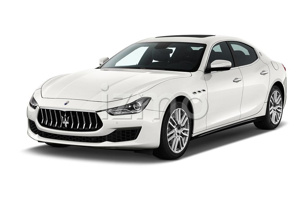 2018 Maserati Ghibli Base 4 Door Sedan angular front stock photos of front three quarter view