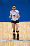 GRAND RAPIDS, MI - NOVEMBER 18: Maddie Fischer (18) of Wittenberg University celebrates after Wittenberg University scores a point during the Division III Women's Volleyball Championship held at Van Noord Arena on November 18, 2017 in Grand Rapids, Michigan. Claremont-M-S defeated Wittenberg 3-0 to win the National Championship. (Photo by Doug Stroud/NCAA Photos via Getty Images)
