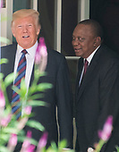 United States President Donald J. Trump and President Uhuru Kenyatta of the Republic of Kenya walk on the Colonnade of the White House in Washington, DC on Monday, August 27, 2018.<br /> Credit: Ron Sachs / CNP